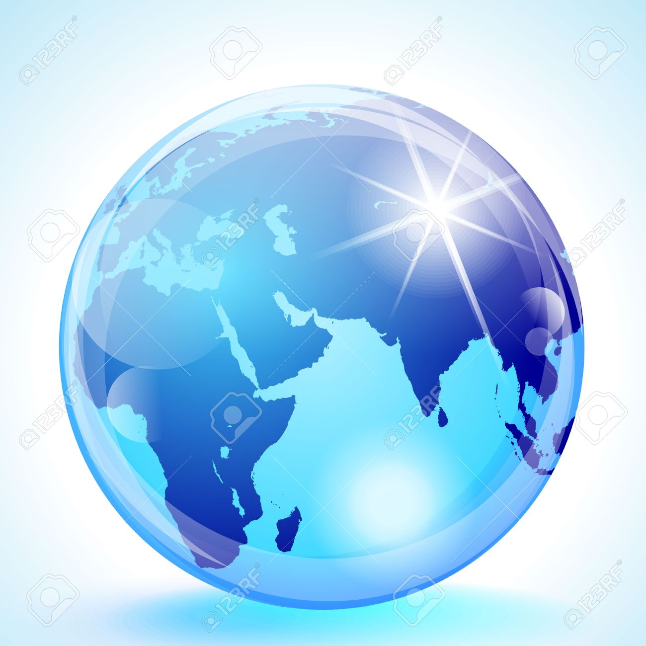 Blue marble globe showing the Europe, Africa, the Indian Ocean, the Middle East & Asia. - 13109446
