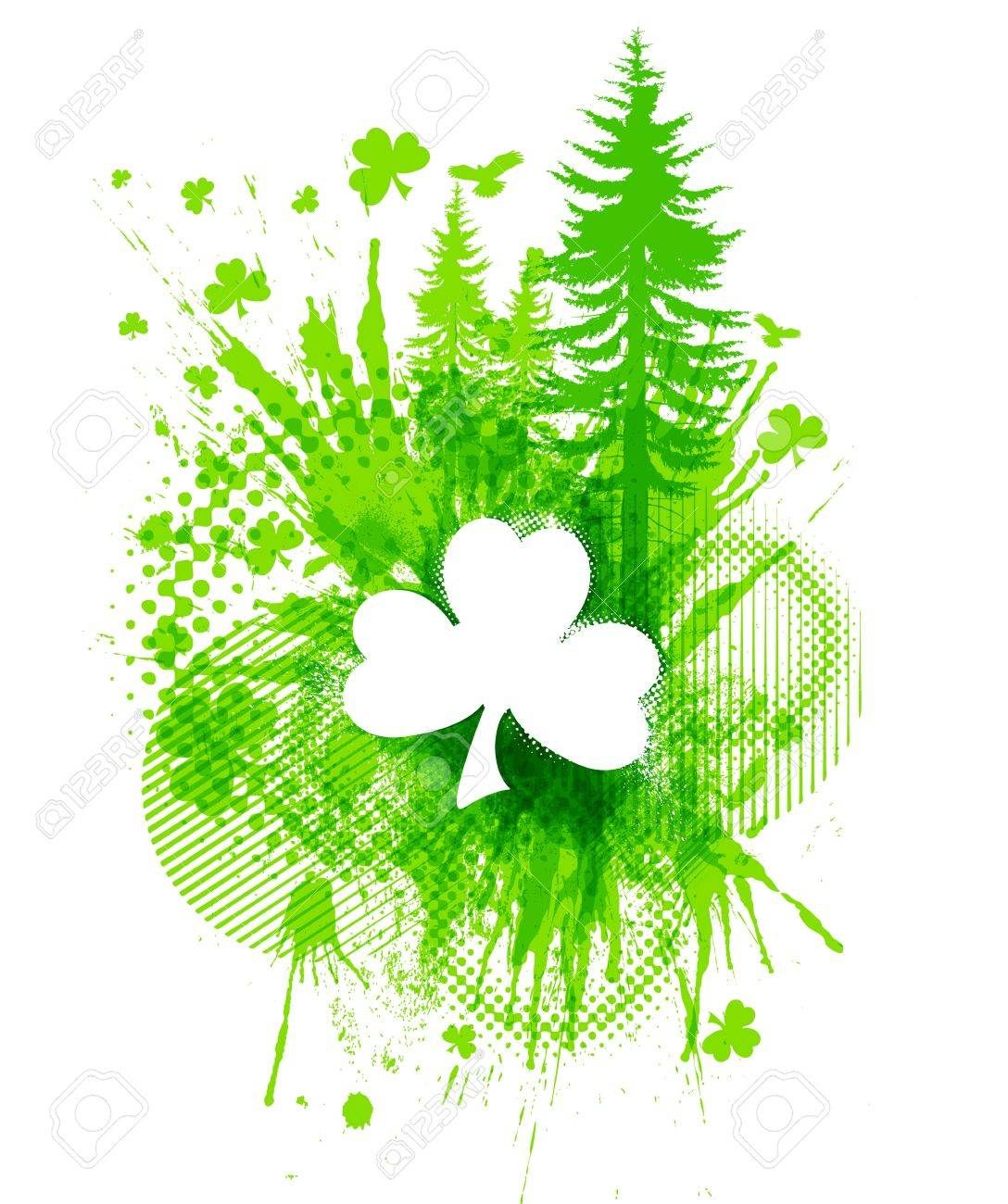Abstract St. Patricks lucky clover collage illustration Stock Vector - 13109500