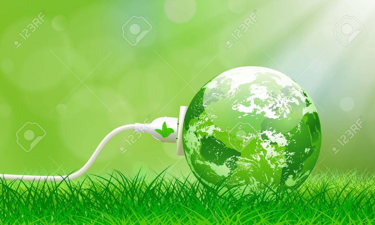 Green energy concept with Planet Earth and electric plug on lush grass Stock Vector - 14113769
