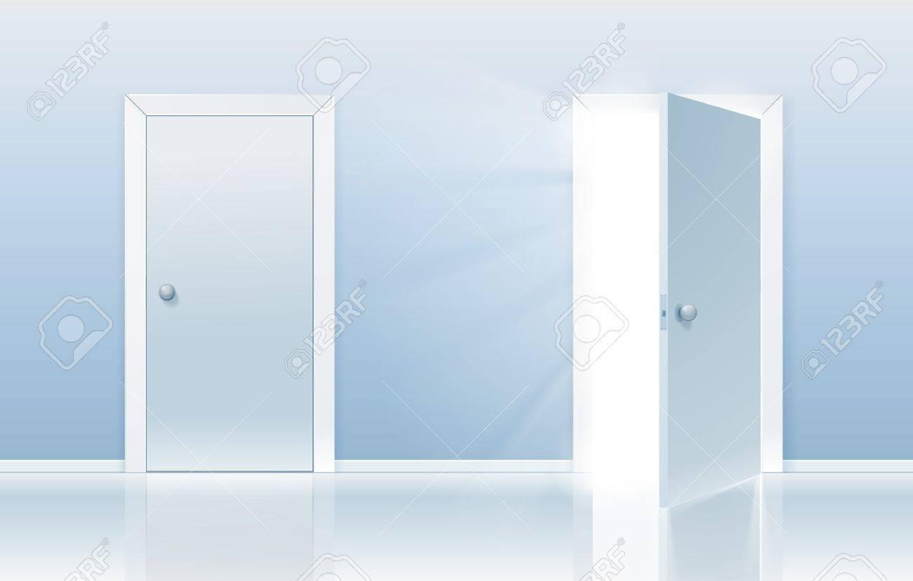Geschlossene tür zeichnung  Offene Und Geschlossene Tür-Konzept Eine Tür Wird Geschlossen Und ...