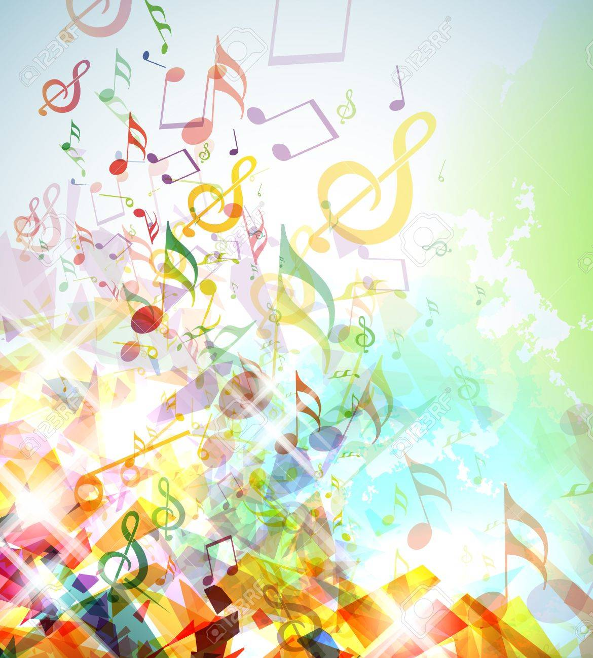 Musical notes staff background on white vector by tassel78 image - Music Notes Background Illustration With Colorful Shattered Elements And Musical Notes Illustration