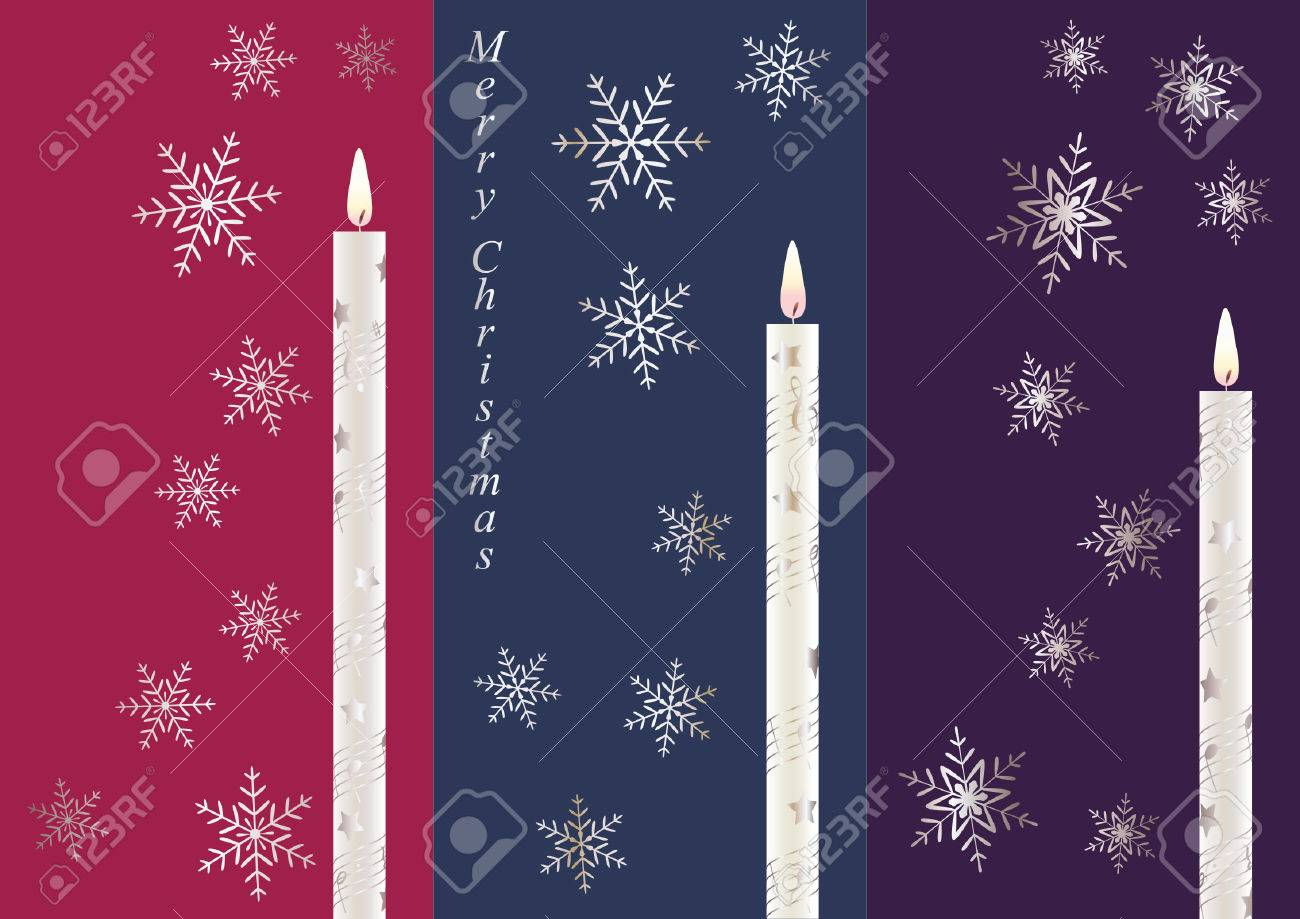 Christmas Cards Set With Candles And Snowflakes Royalty Free ...