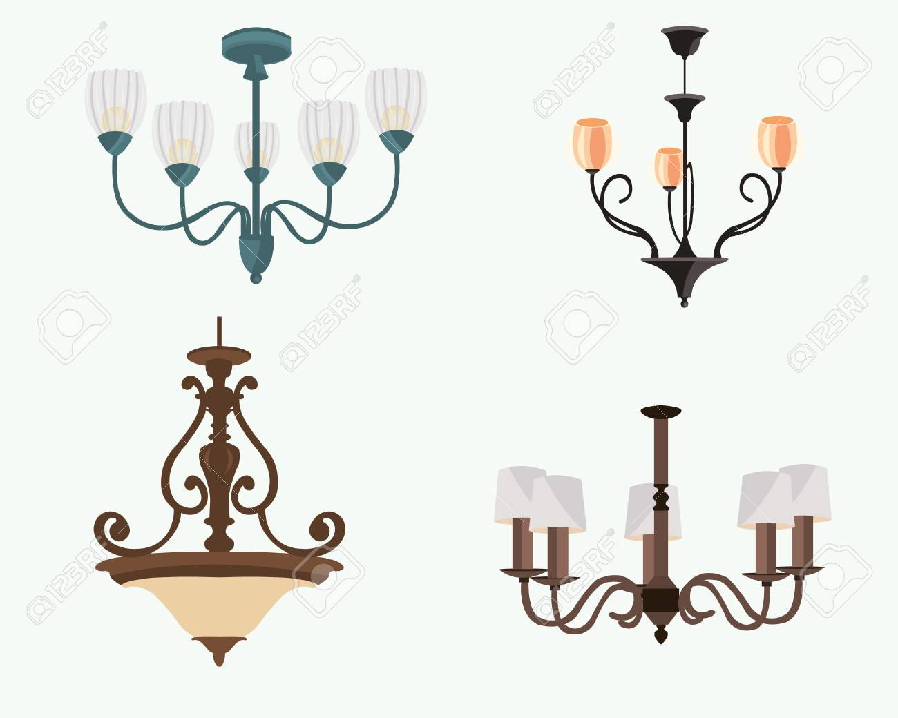 Chandelier silhouette isolated on white background set of stylish chandelier silhouette isolated on white background set of stylish original chandeliers flat style vector aloadofball Images