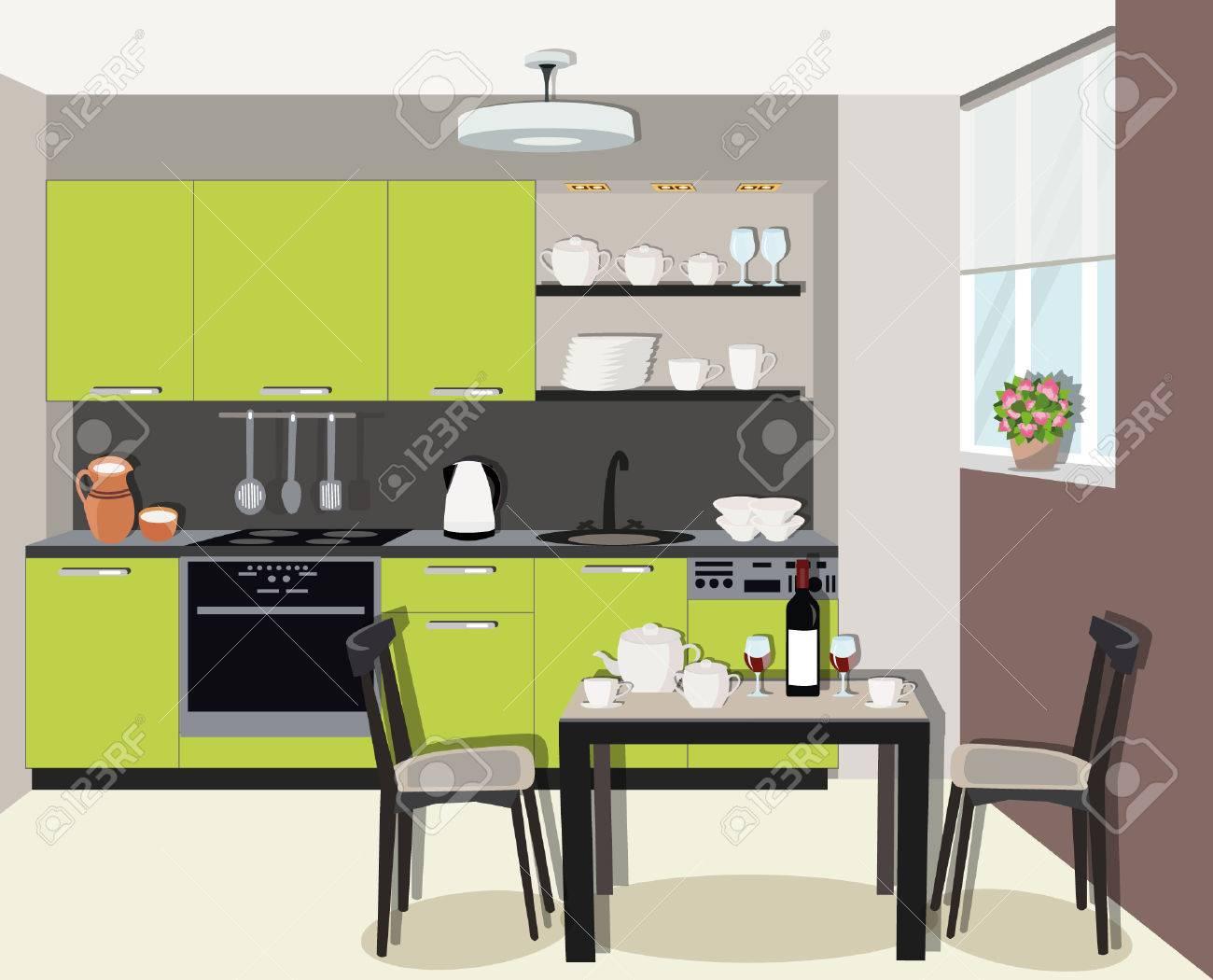 Design d\'intérieur cuisine moderne et confortable avec cuisinière, placard  et vaisselle. Salle à manger avec table, chaises et fenêtre. ...