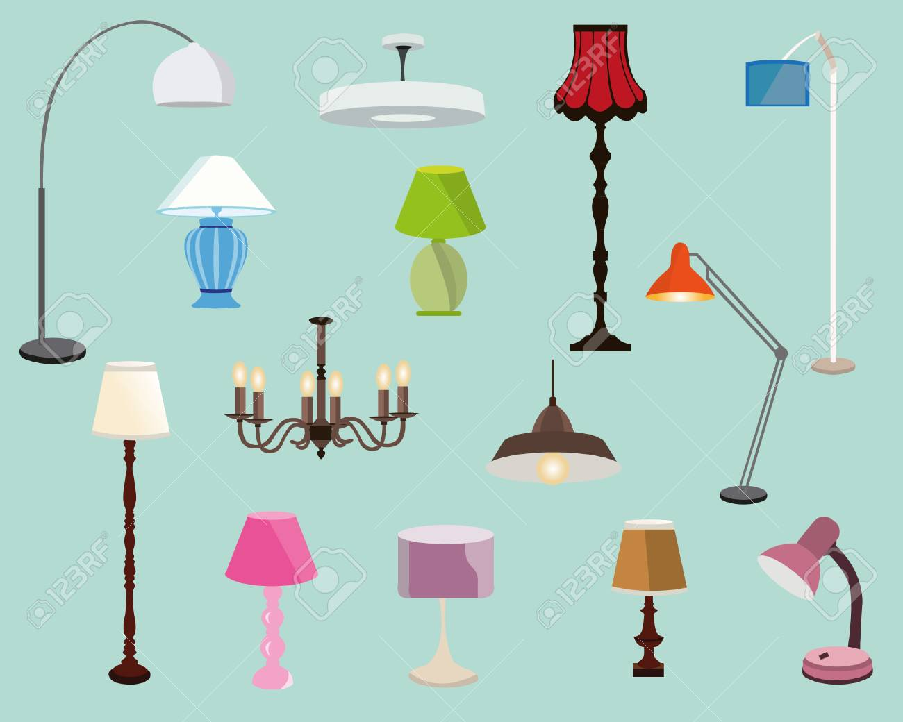 Colorful lamps set floor lamps table lamps and chandeliersflat colorful lamps set floor lamps table lamps and chandeliersflat style vector illustration mozeypictures