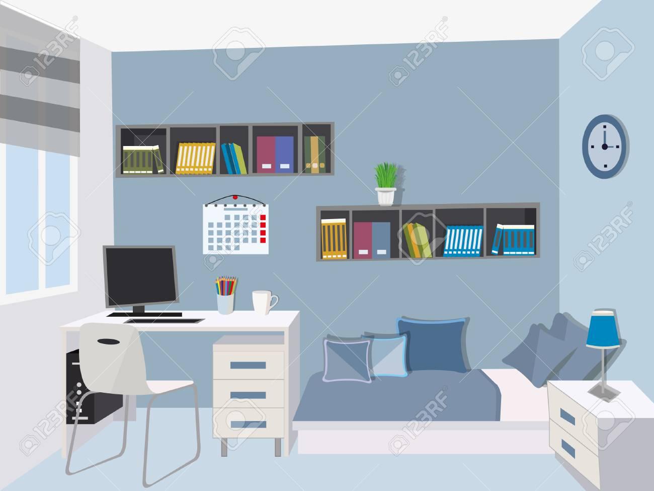 Chambre Adolescente Moderne Interieur Elegant Avec Des Meubles Colores Lit Bureau D Ordinateur Ordinateur Etagere Table De Chevet Illustration