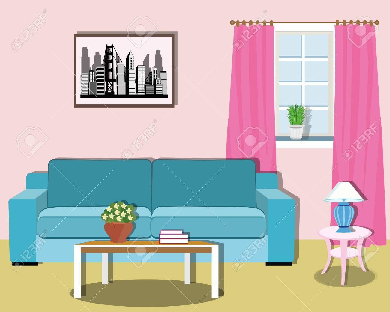 Design d\'intérieur de salon moderne coloré avec des meubles. Illustration  vectorielle de style plat.