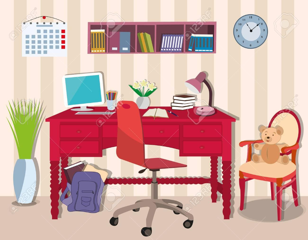 Moderner Kühler Jugendlichraum Mit Arbeitsplatztabelle, Stuhl, Lampe ...