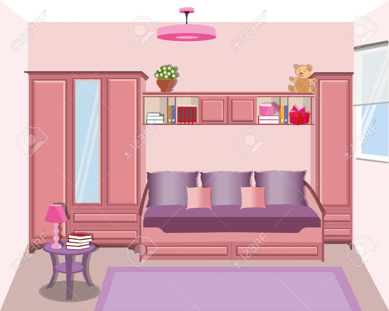 Cute Graphic Room For Girls Teenager. Modern Bright Colored Furniture   Sofa,  Wardrobe,