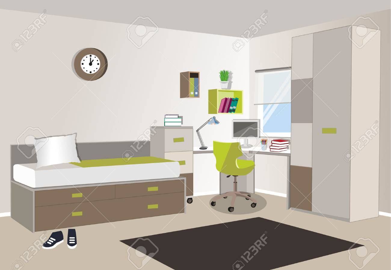 Teenager Room Interior With Colored Furniture