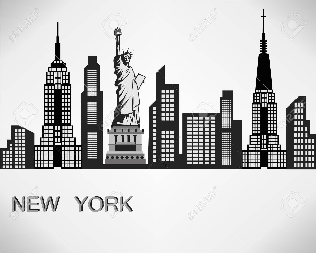 New York City Skyline Detailed Silhouette Vector Illustration