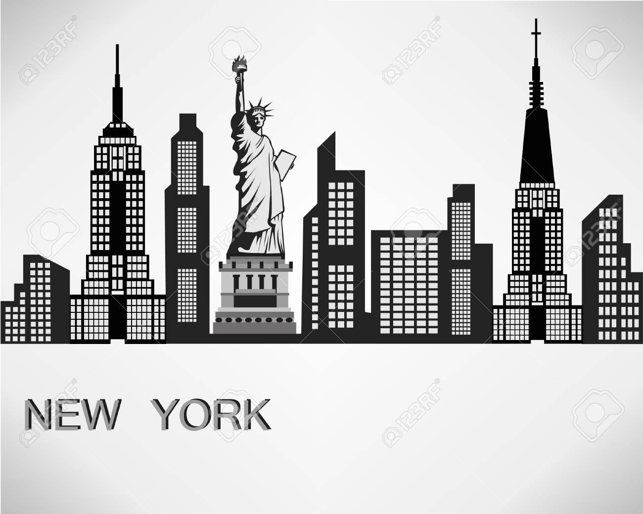 new york city skyline detailed silhouette vector illustration rh 123rf com new york skyline silhouette vector free new york skyline silhouette vector free