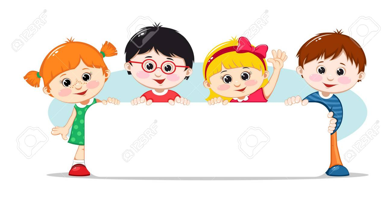 Kids with a blank poster. Vector illustration - 125579314
