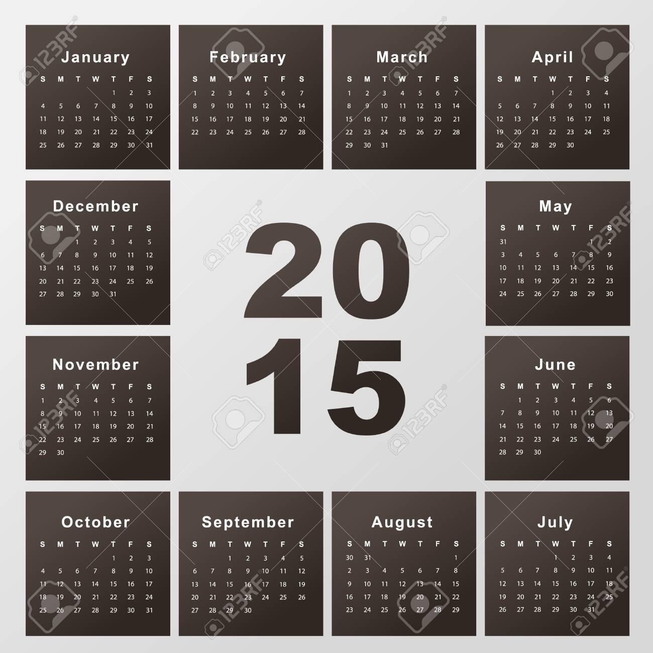 Plantilla De Calendario Para El Año 2015 Ilustraciones Vectoriales ...