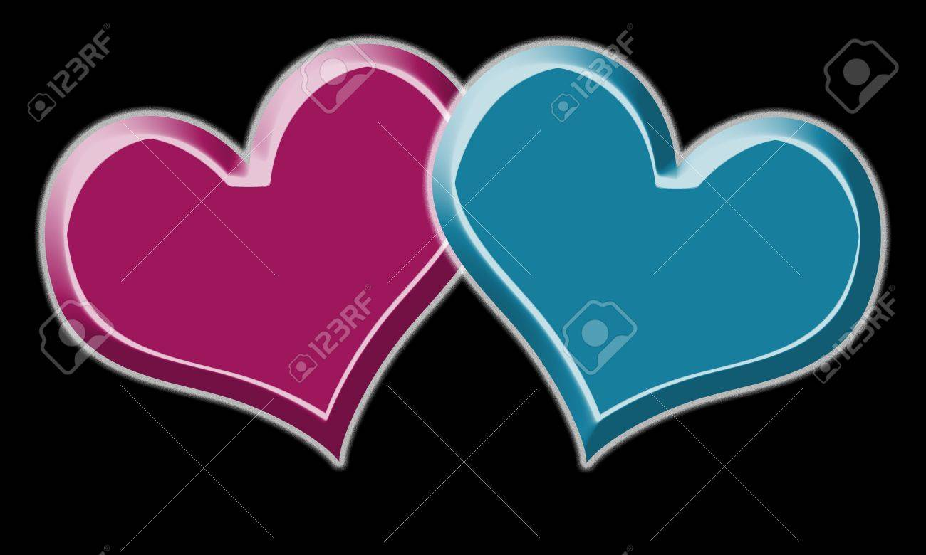red and blue heart for valentine day on black background stock