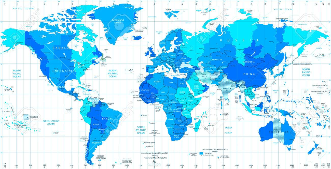 Detailed world map standard time zones in colors of blue royalty detailed world map standard time zones in colors of blue stock vector 69393129 gumiabroncs Image collections