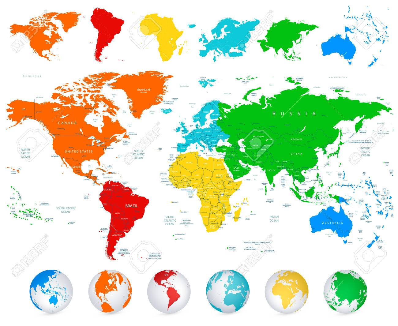 Detailed vector world map with colorful continents political detailed vector world map with colorful continents political boundaries country names and 3d globes gumiabroncs Images