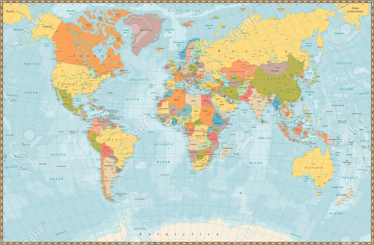 Large Detailed Vintage Color Political World Map With Lakes And