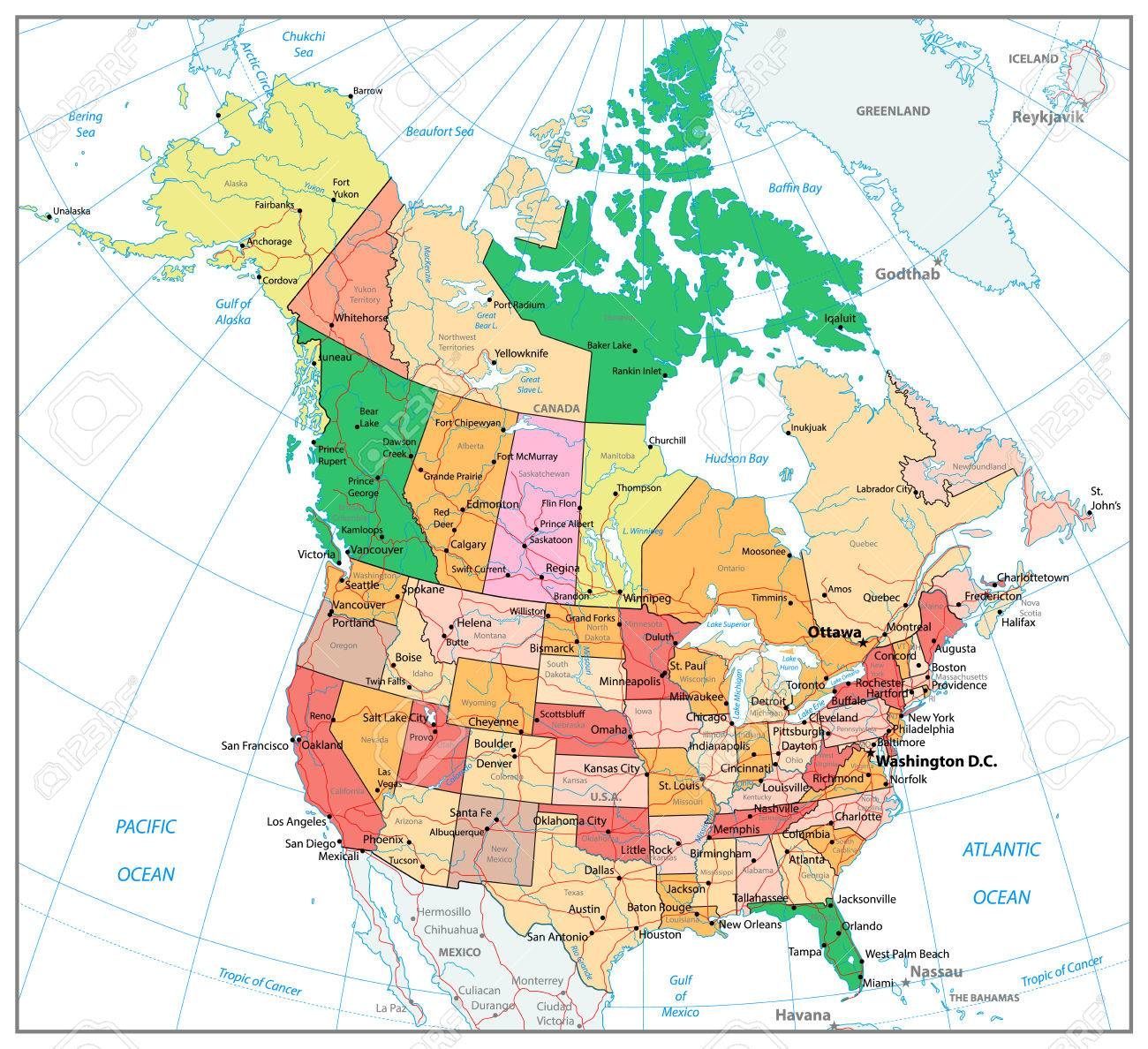 USA And Canada Large Detailed Political Map With Roads And Water