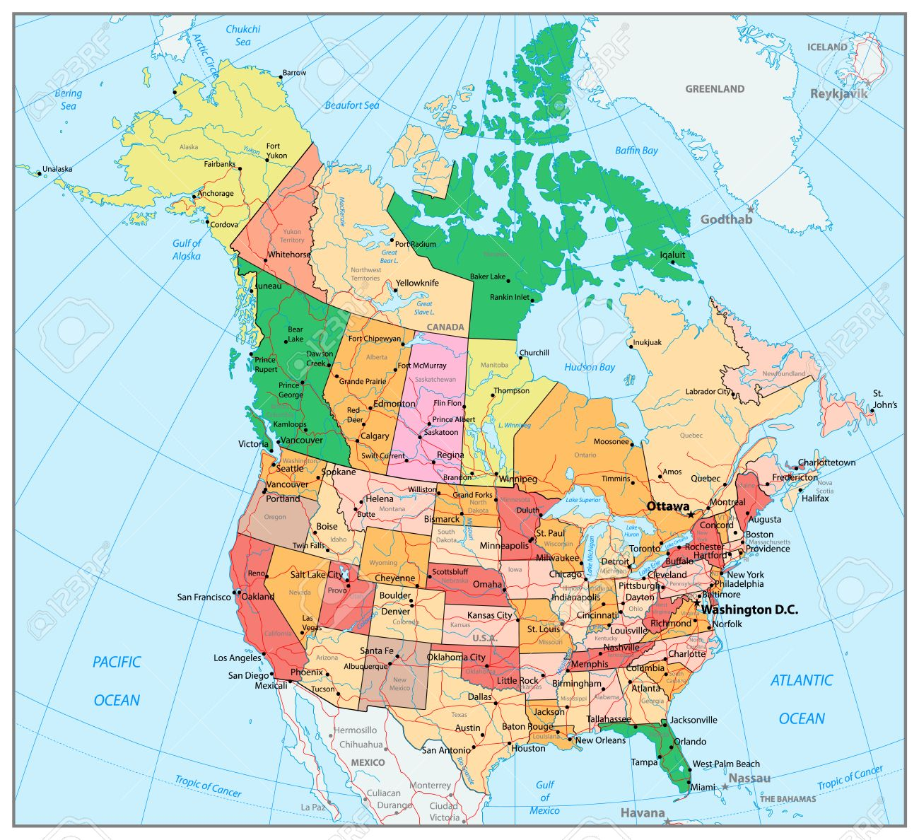 USA And Canada Large Detailed Political Map With States Provinces - Canada usa map states and provinces
