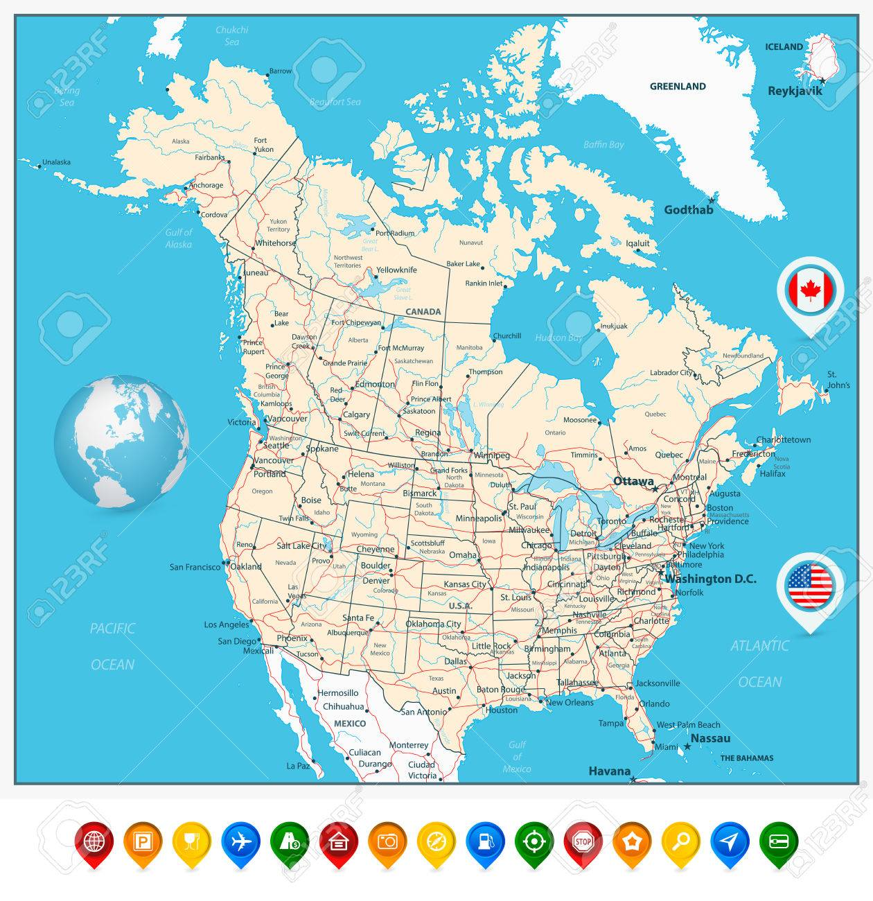 USA And Canada Large Detailed Political Map With Map Pointers
