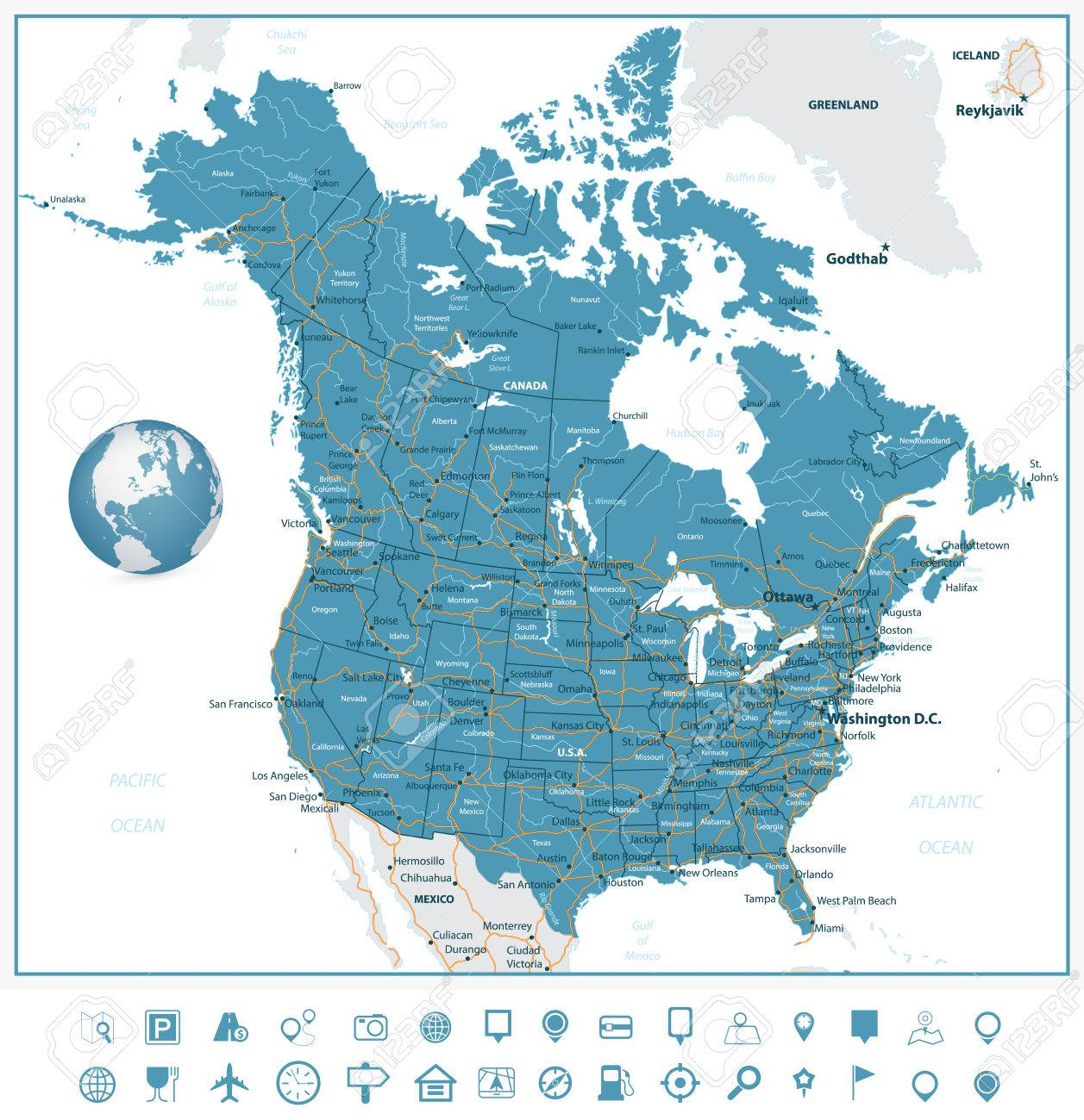 USA And Canada Road Map And Navigation Icons With States - Map of usa and canada with cities