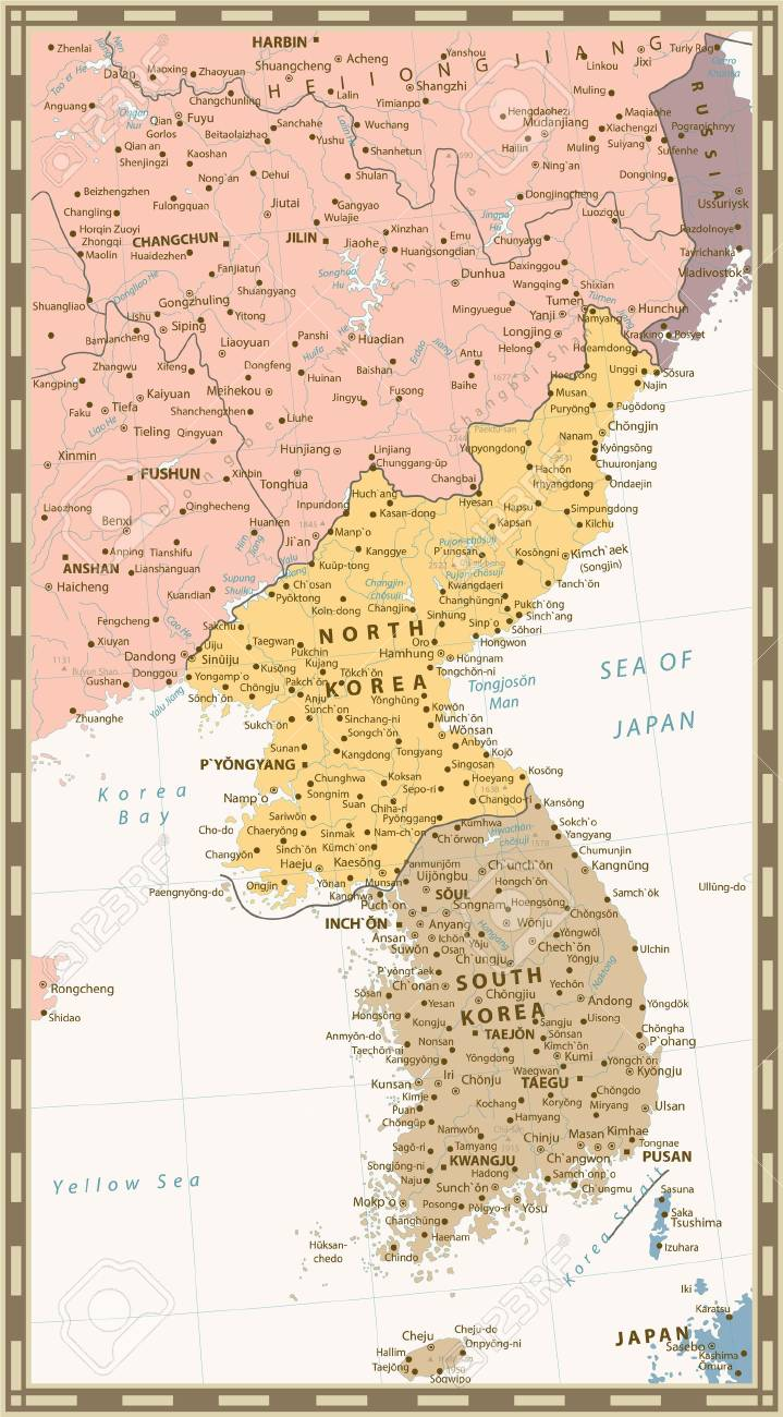 Retro Color Political Map Of The Korean Peninsula Map Of North - Map of south korean cities