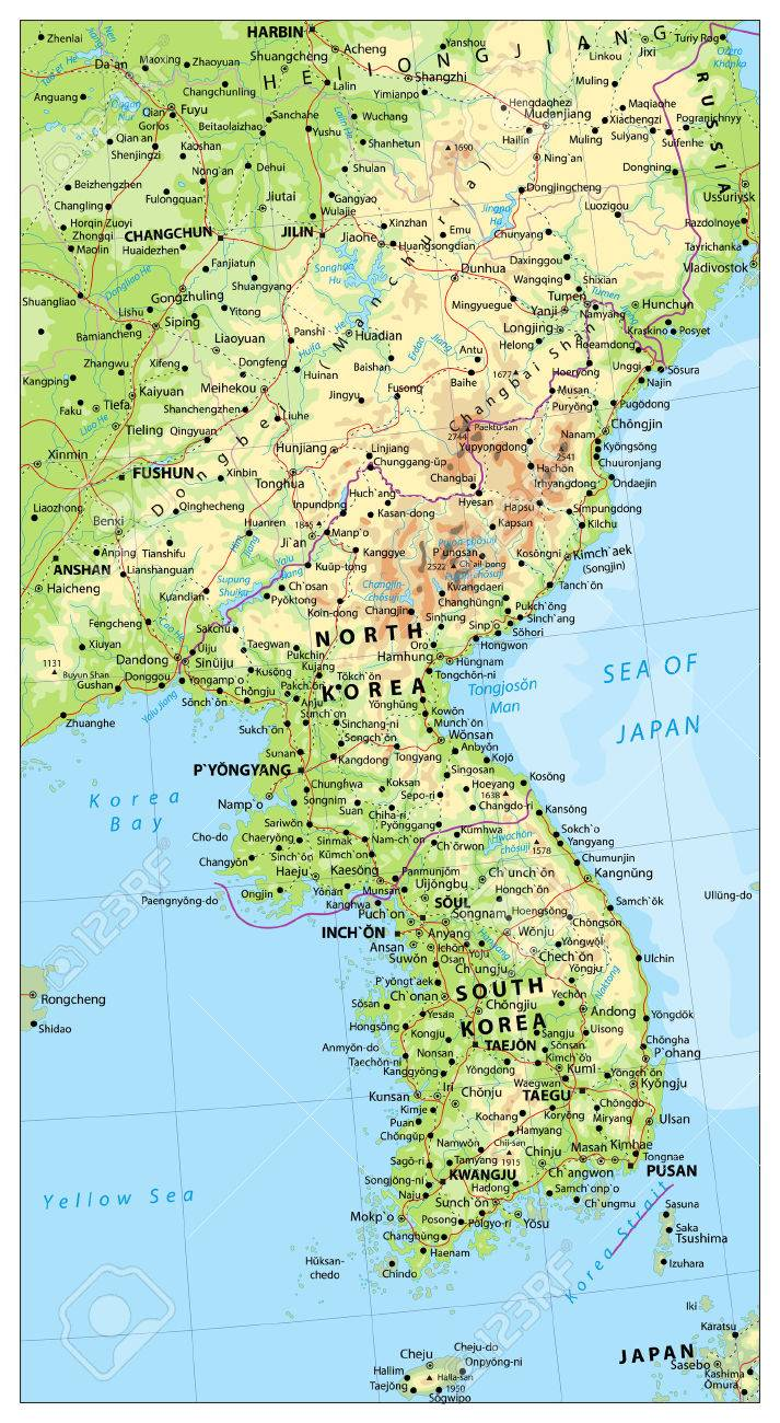 Korean Peninsula Large Detailed Physical Map With Roads Railroads