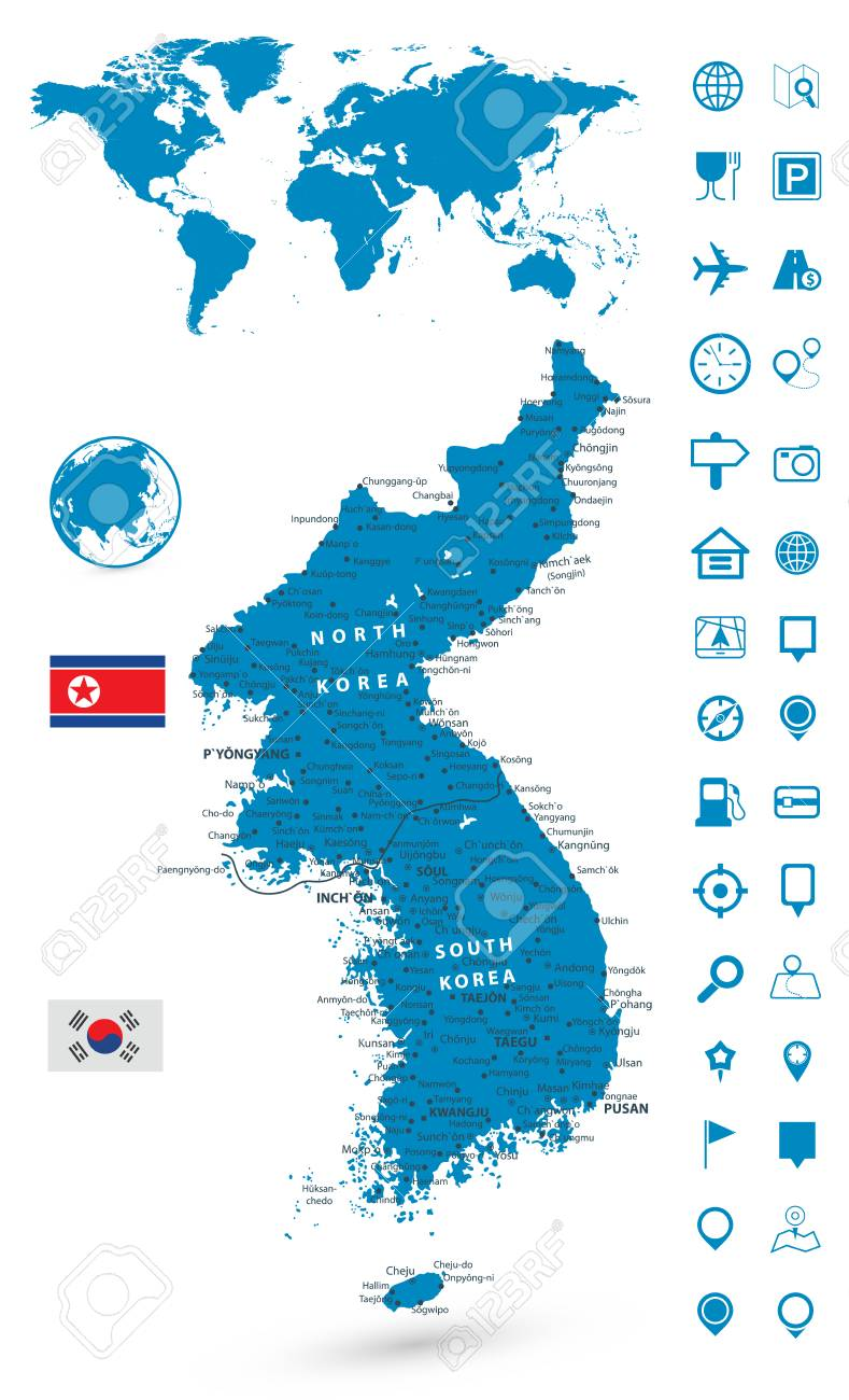 Detailed map of korean peninsula with world map navigation set detailed map of korean peninsula with world map navigation set illustration stock vector gumiabroncs
