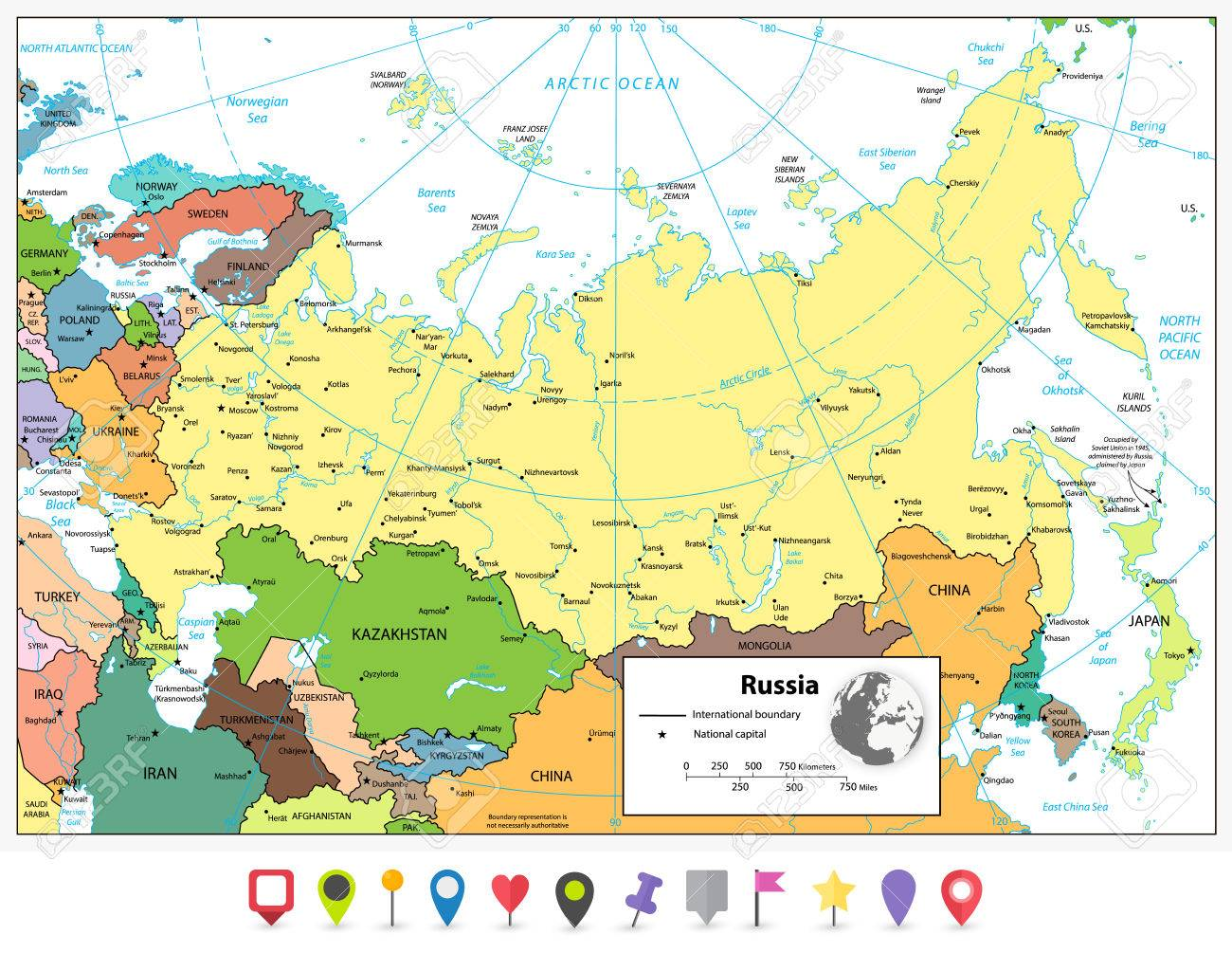 Russian federation detailed political map and flat map pointers russian federation detailed political map and flat map pointers with separated layers stock vector gumiabroncs Gallery