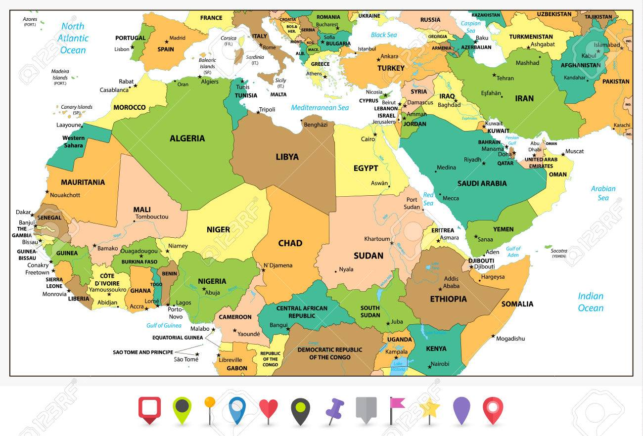 Highly Detailed Political Map Of Northern Africa And The Middle