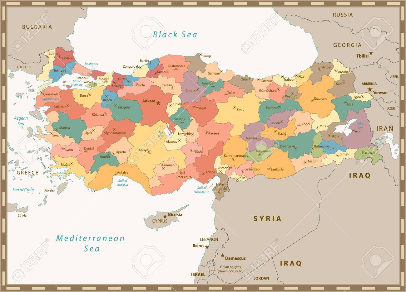 Old Retro Color Map Of Turkey With Separated Layers Royalty Free