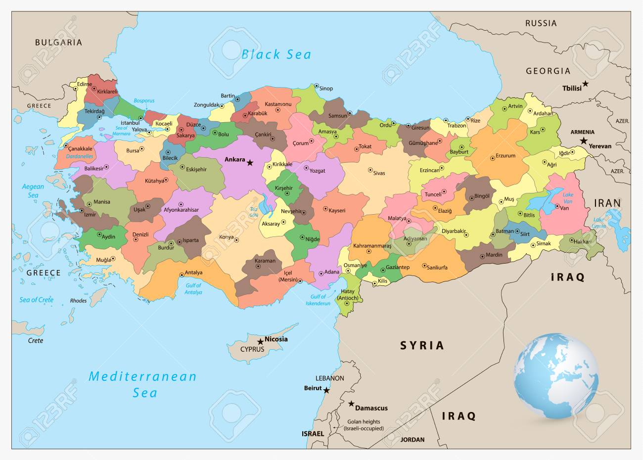 Turkey Detailed Administrative Map With Separated Layers Royalty