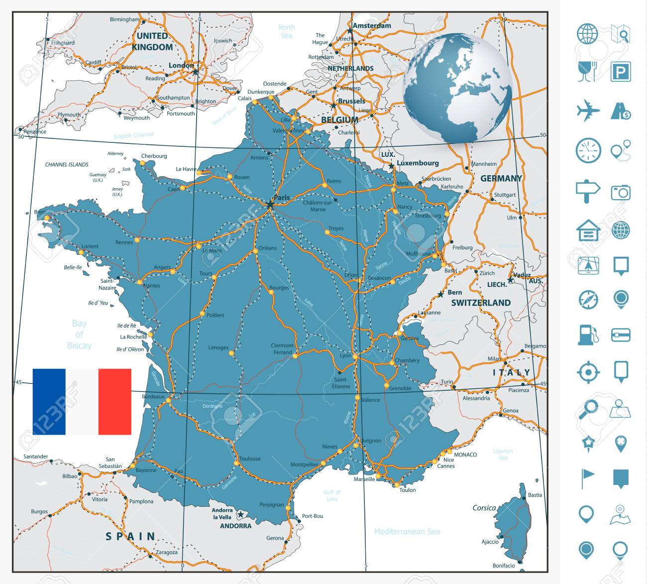 Highly Detailed Road Map Of France With Navigation Labels All