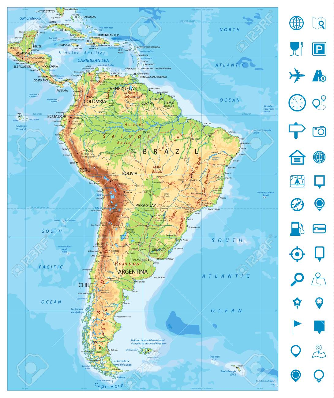 Detailed South America Physical Map And Navigation Icons With