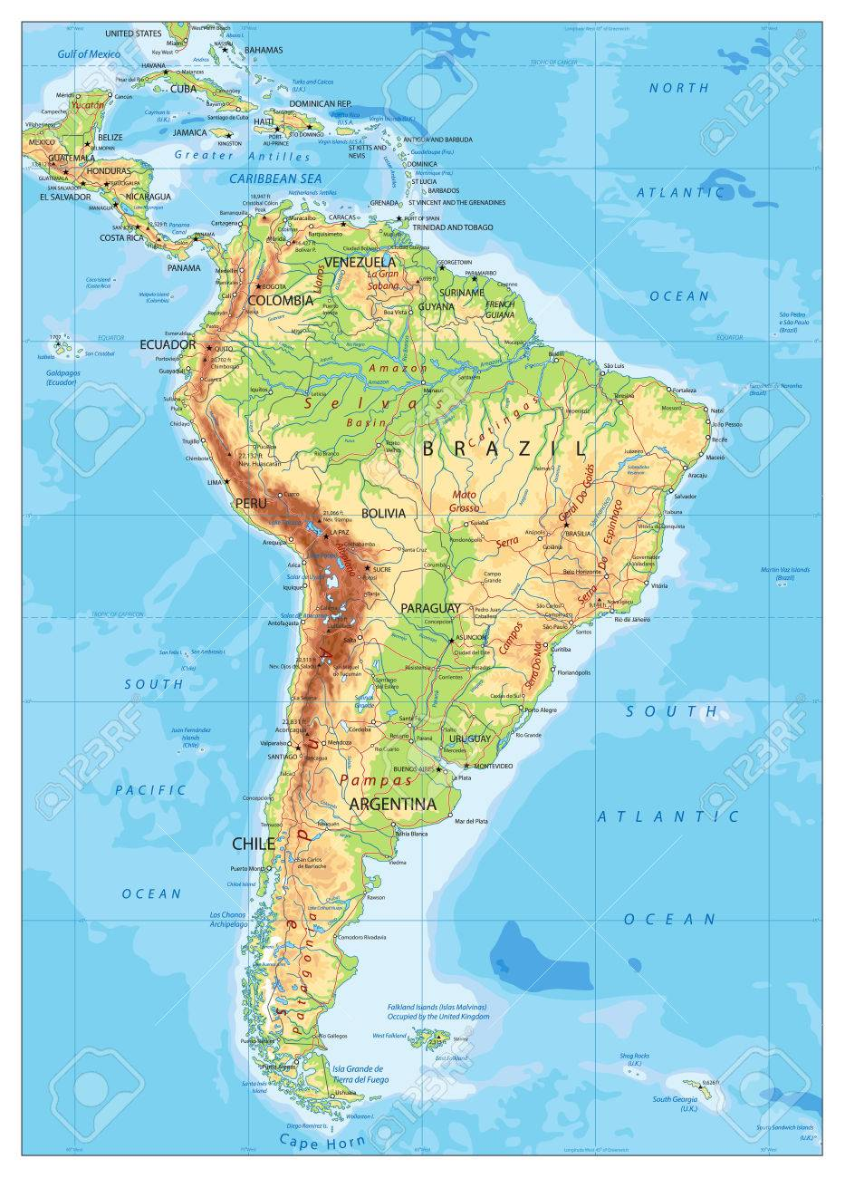 South America Detailed Physical Map With Global Relief Roads
