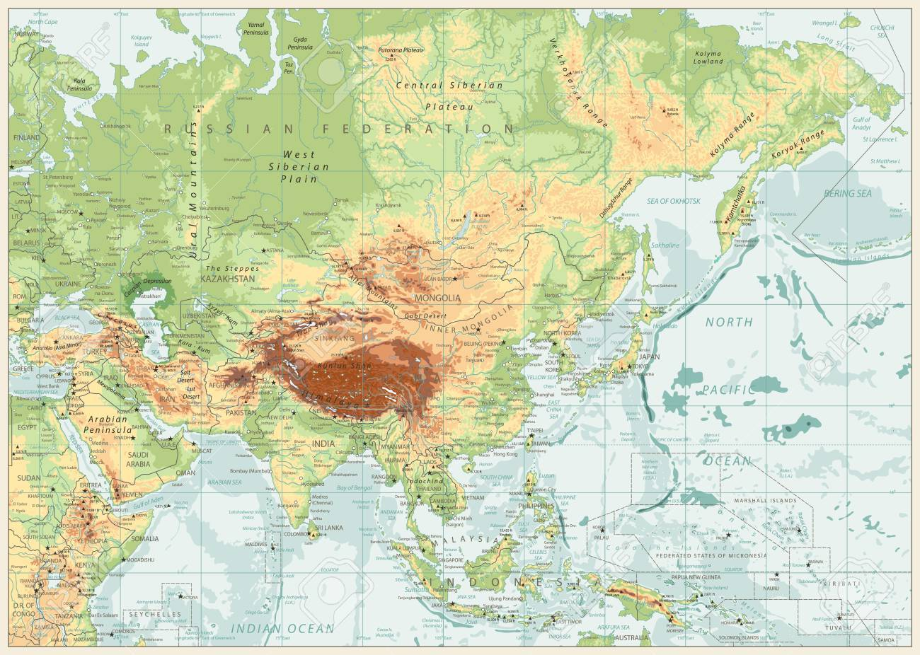 Asia Physical Map With Rivers Lakes And Elevations Retro Colors
