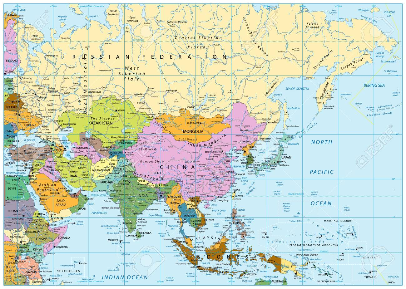 Asia political map with roads rivers lakes and elevations stock asia political map with roads rivers lakes and elevations stock photo 87295607 gumiabroncs Image collections