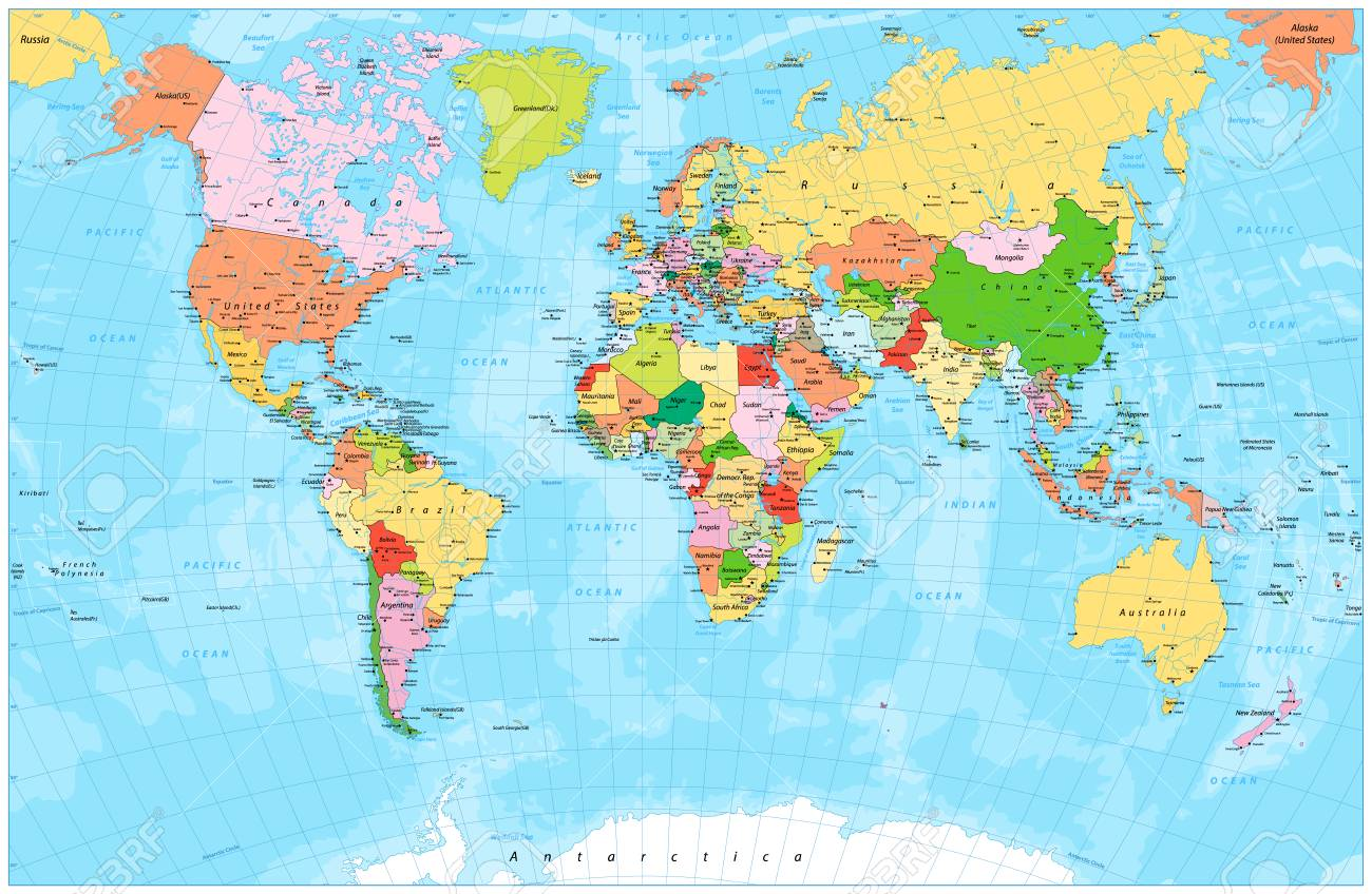 Detailed Political World Map With Capitals, Rivers And Lakes. Vector ...