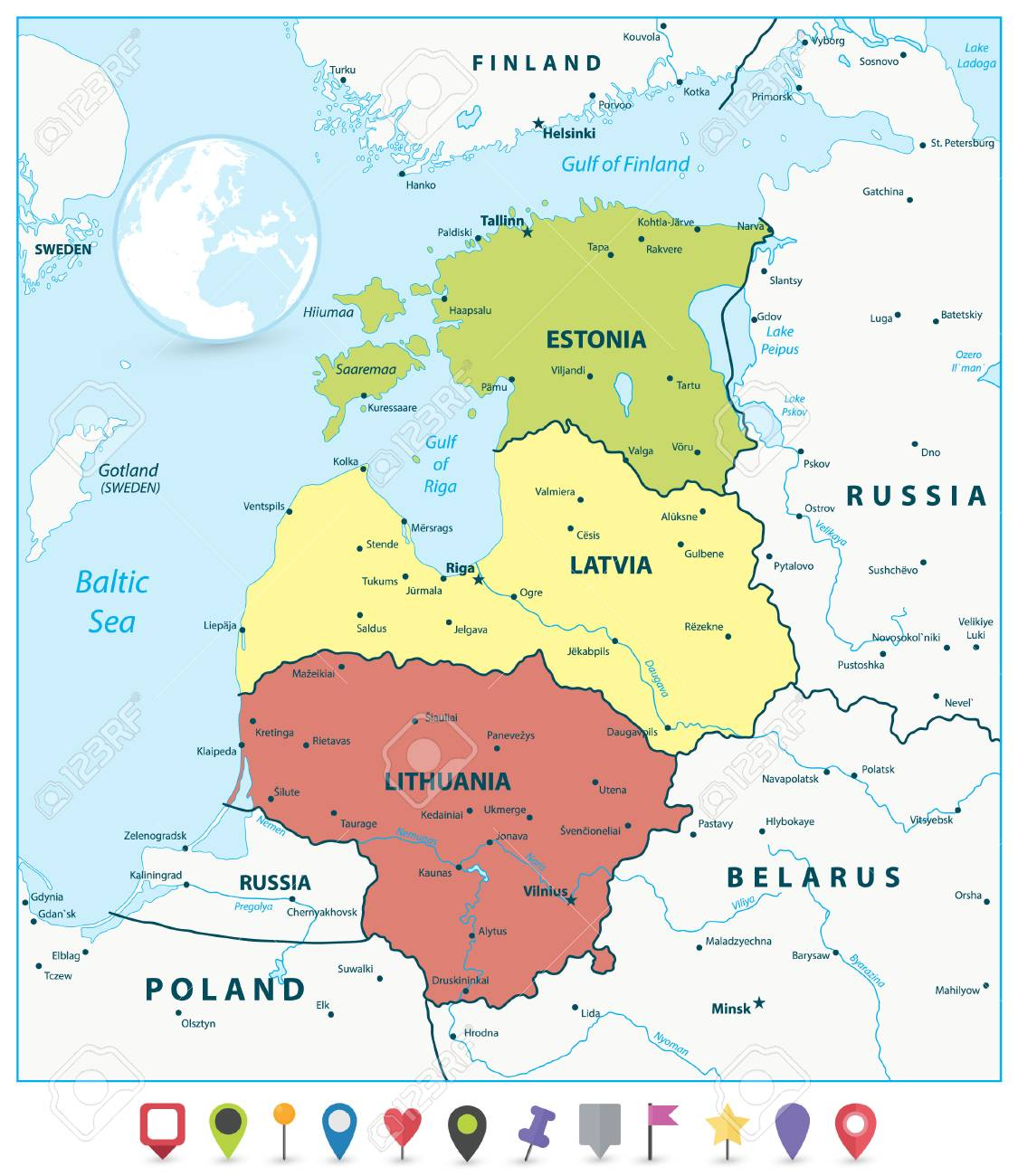 Political Map Of The Baltic States And Flat Map Pointers. Vector ...