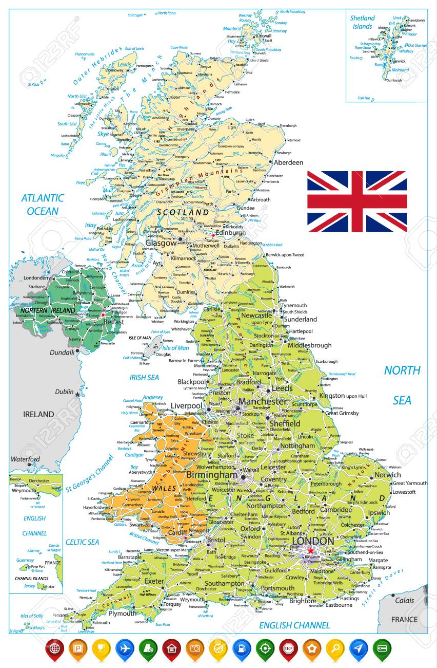 Detailed Road Map Of England.Stock Illustration