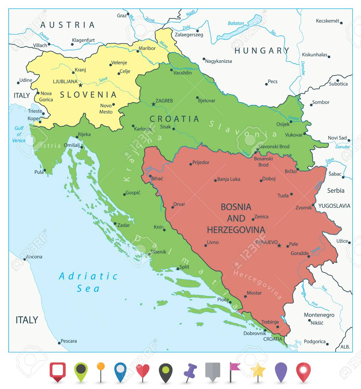 Map of the Western Balkans and Flat Map Pointers. Vector illustration. - 113956120