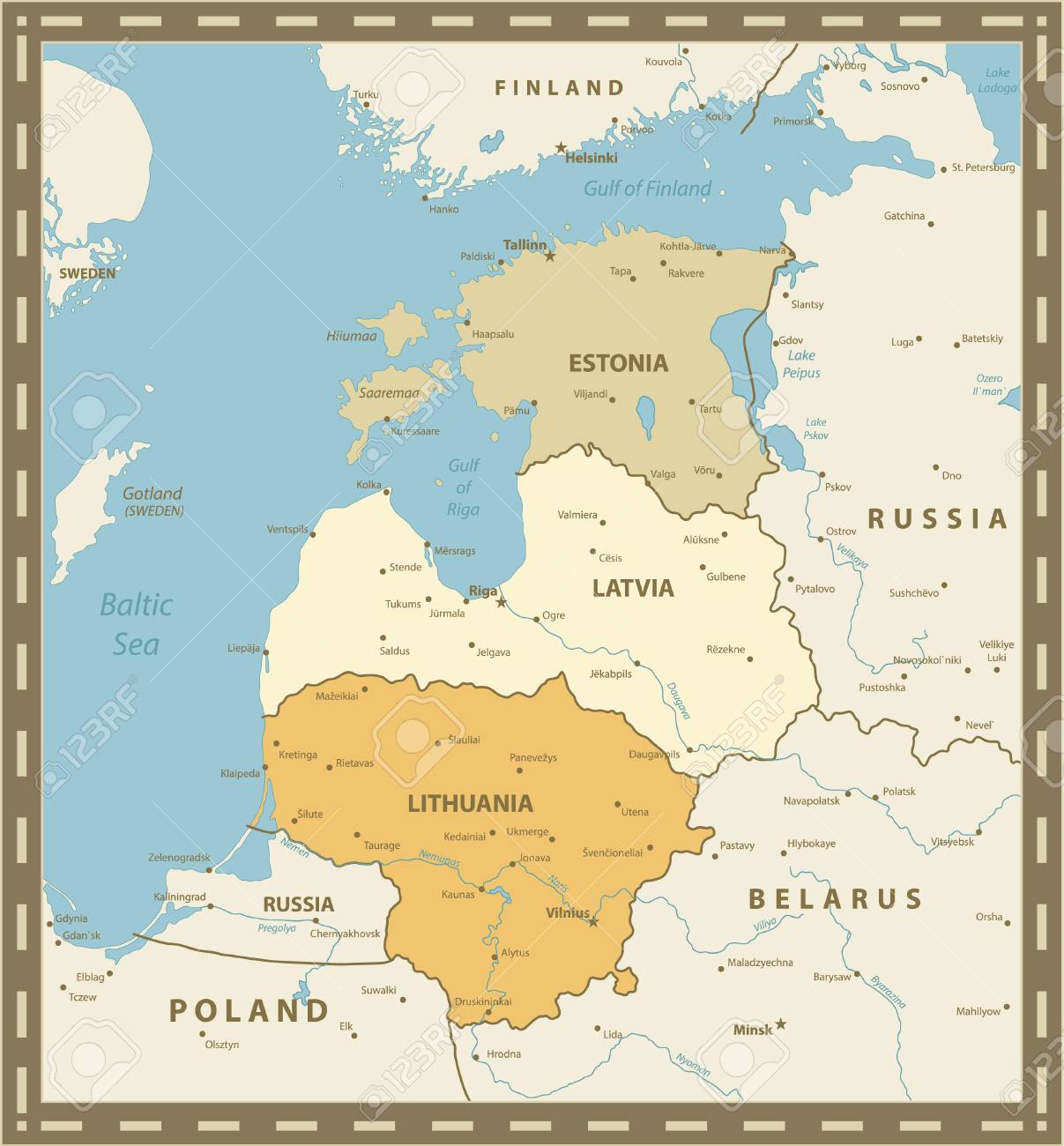 Vintage Color Map Of The Baltic States. Vector Illustration. Stock ...