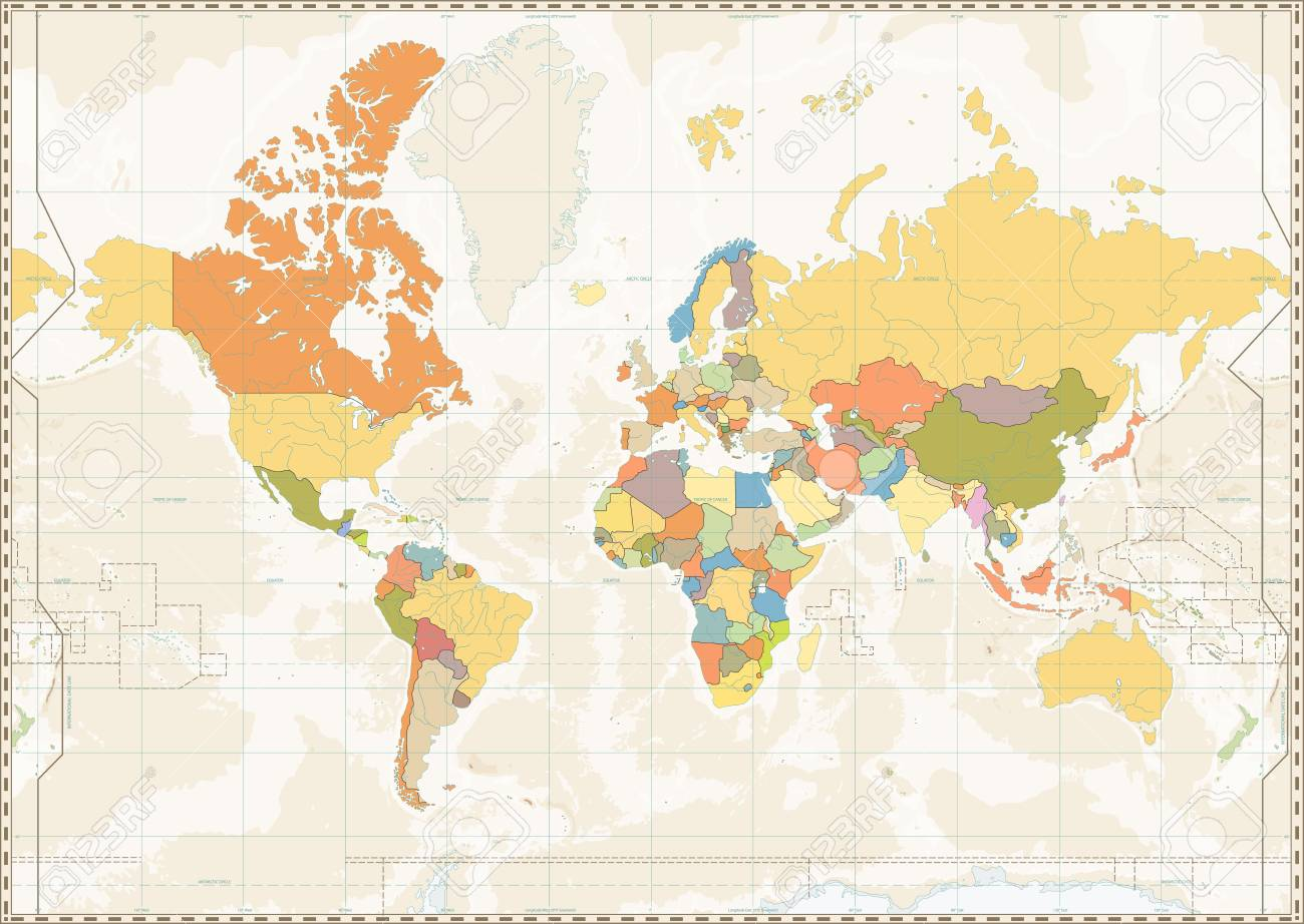Blank World Map Retro Color With Lakes And Rivers Vector