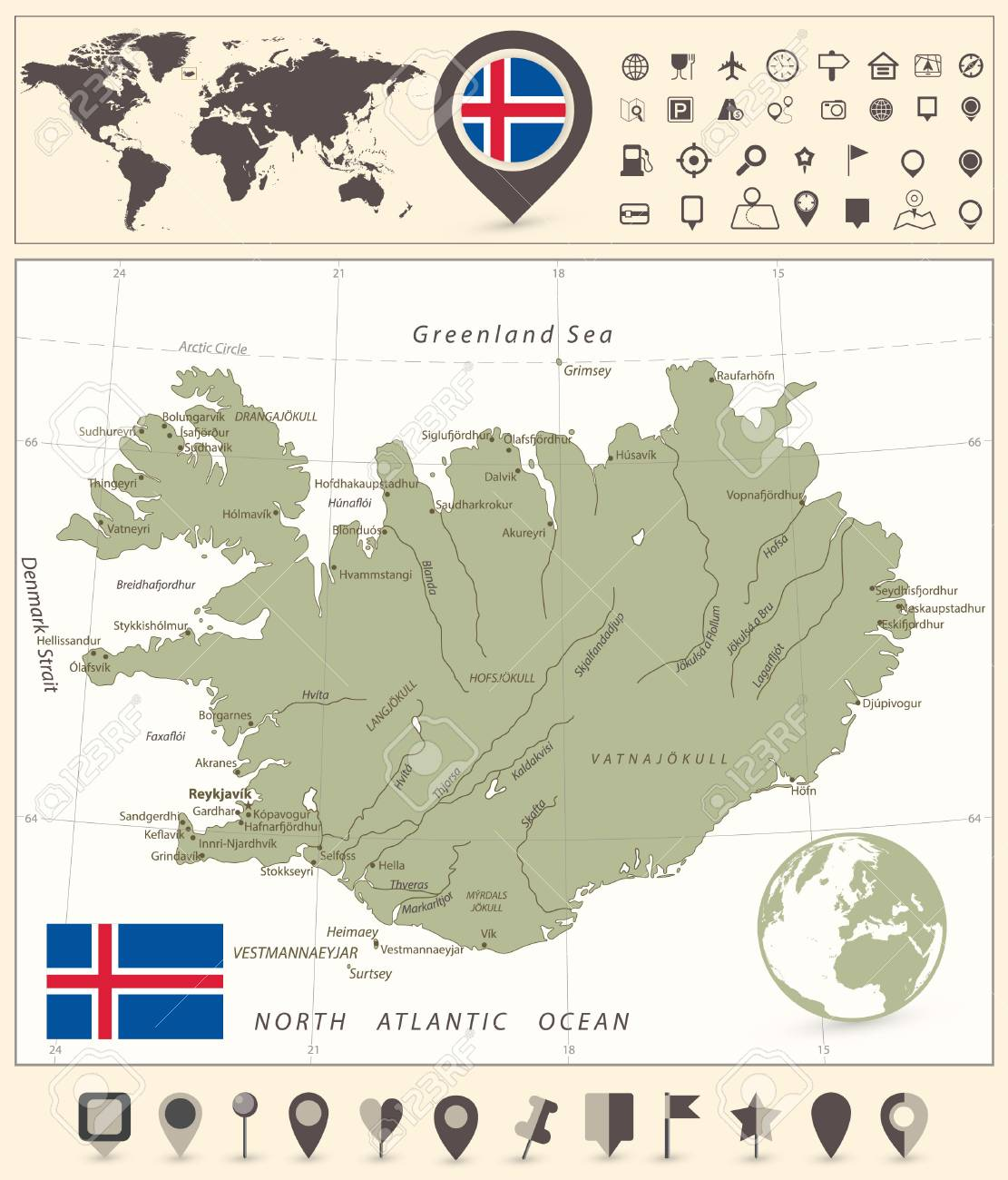 Navigation World Map.Iceland Map And World Map With Navigation Icons Vector Illustration