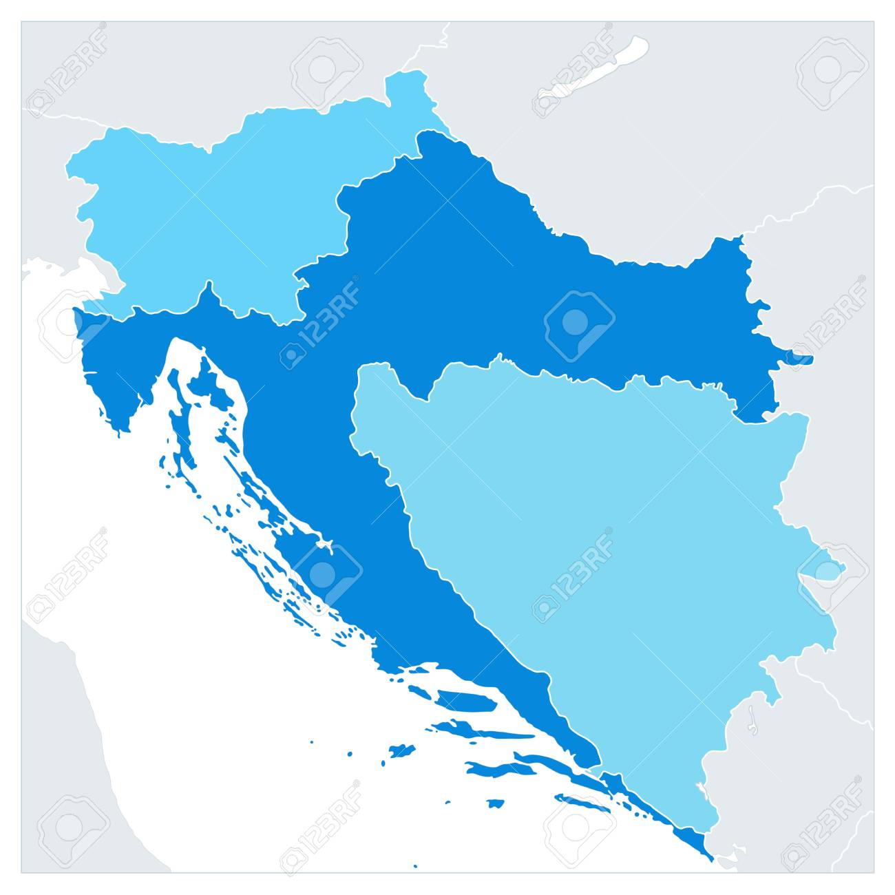 Map of the Western Balkans In Colors Of Blue. No text. Vector illustration. - 113963260