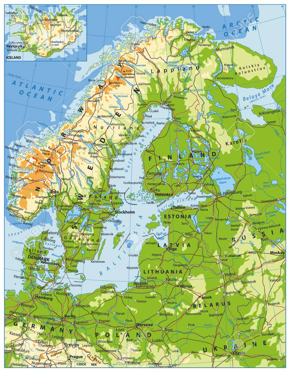 Northern Europe Physical Map. Highly Detailed Vector Illustration ...