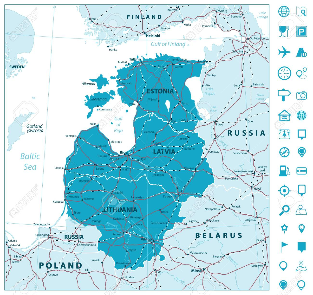 Map of the Baltic States with roads and navigation icons. Vector  illustration.