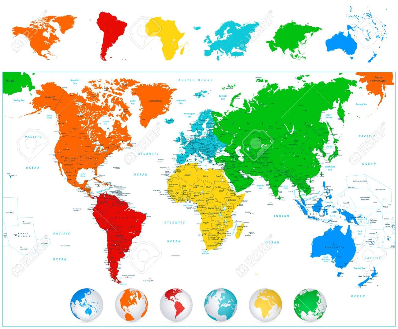 Detailed Vector World Map With Colorful Continents Political
