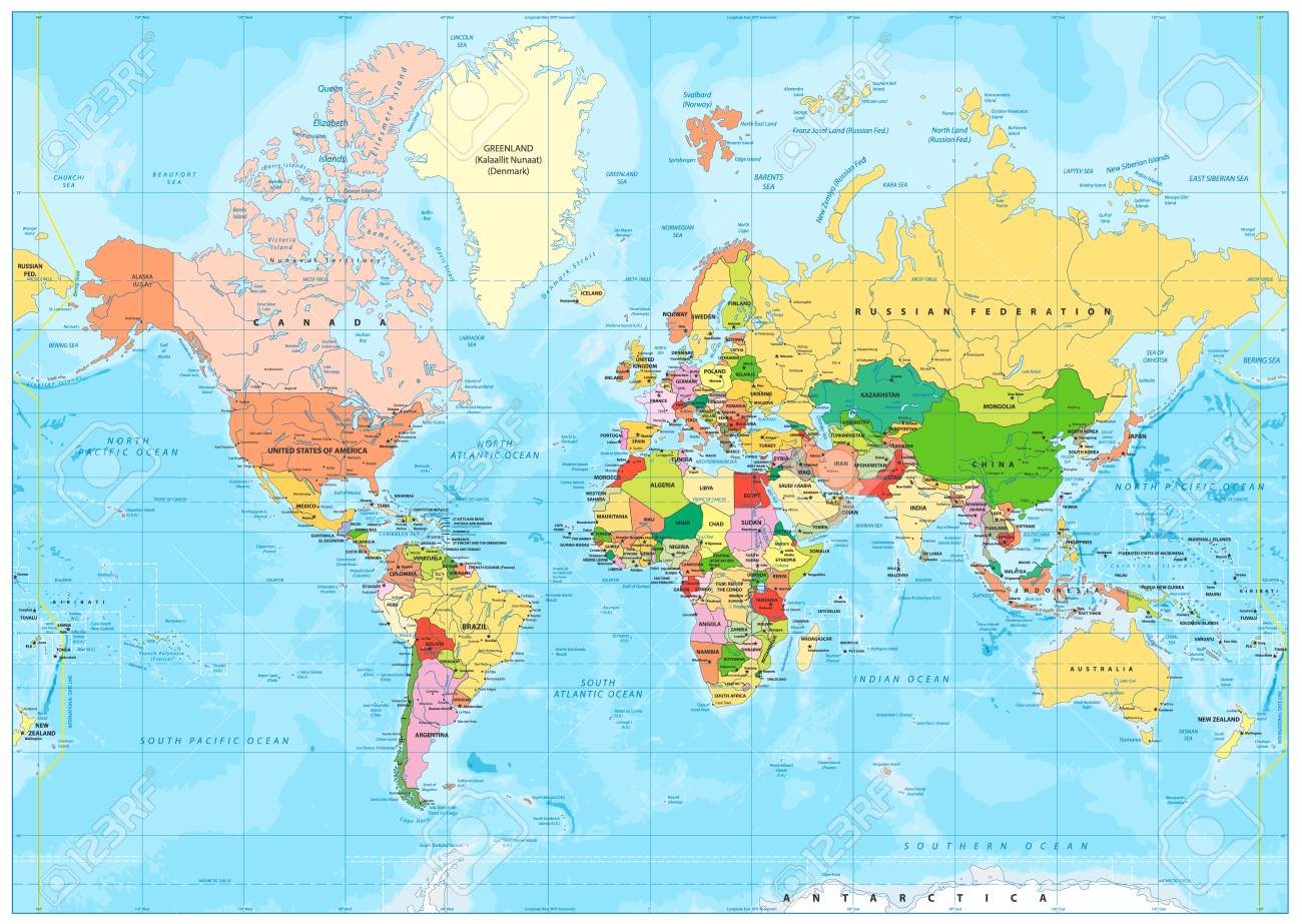Highly Detailed Political World Map With Labeling. Vector ... on